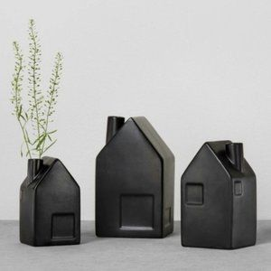 Hearth Hand Set 3, Black stoneware bud vase house